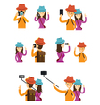 Couple Taking photos in Action Character Set vector image vector image