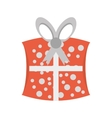 cute gift box dotted ribbon vector image vector image