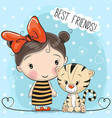 Cute tiger and girl vector image