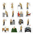 detective characters collection vector image vector image