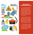 electric power obtainment and usage promotional vector image vector image