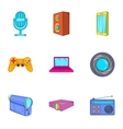 Electronic appliance icons set cartoon style vector image vector image