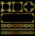 golden asian retro frames and borders set vector image vector image