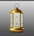 golden lantern antique lamp for ramadan realistic vector image