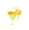 green cocktail alcohol mixed drink or lemonade vector image