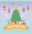 happy merry christmas card with pine tree vector image