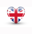 Heart-shaped icon with national flag of the UK vector image