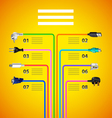 Infographics with plug wire cables on yellow vector image