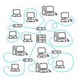 internet communication scheme doodle style social vector image vector image