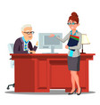 interview candidate introduces herself to staff vector image vector image