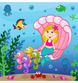 mermaid swims in seashell vector image