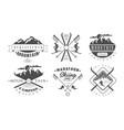 mountain camping and skiing retro logo templates vector image vector image