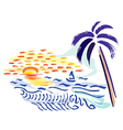 palm sunset and sea vector image
