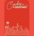 red christmas card with western cowboy vector image vector image