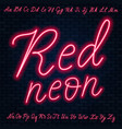 red neon script uppercase and lowercase letters vector image vector image