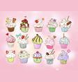 set doodle sketch cupcakes with decorations on vector image vector image