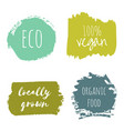 set of vegan eco organic green design templates vector image vector image