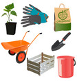 set with garden tools vector image