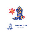 sheriff icon cowboy sign country music and vector image