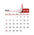 simple calendar 2016 year june month vector image