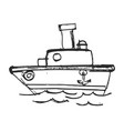 sketch funny steamboat vector image vector image