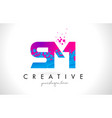 sm s m letter logo with shattered broken blue vector image vector image