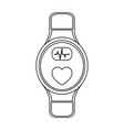 smartwatch wearable technology in black and white vector image vector image