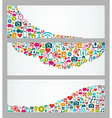 Social media icons web banner set vector image vector image