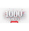 thank you for likes banner over confetti vector image vector image