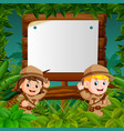 two kids on a jungle adventure with blank wood vector image