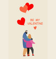 valentines day card with a happy couple embracing vector image vector image
