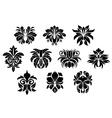 vintage black floral design elements in damask vector image vector image
