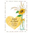 Wedding invitation with mason jar and sunflower vector image vector image