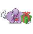 with gift orchid flower mascot cartoon vector image