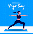 yoga day card woman in warrior pose vector image vector image