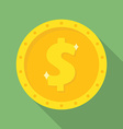 Gold dollar coin icon Money symbol vector image