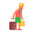 surprised blond tourist man with luggage vector image