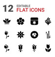 12 floral icons vector image vector image