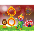 A carnival with a clown and a lion near the ring vector image vector image