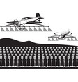 agricultural aircraft and helicopter spray crops vector image vector image