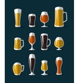 Beer glasses icons set vector image vector image