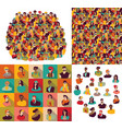 big group young happy casual people faces set vector image vector image
