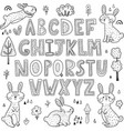 black and white alphabet with cute rabbits vector image vector image