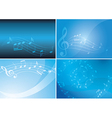 blue backgrounds with musical notes and gradient vector image vector image