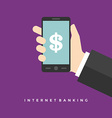 Business man hand holding smart phone and dollar vector image