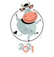 cartoon funny bull postcard symbol new year 2021 vector image vector image