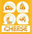 cheese icons flat labels vector image vector image