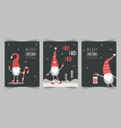 christmas cards with cute scandinavian gnomes vector image vector image