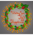 Christmas wreath handwritten words Wishing You vector image vector image