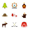 country of canada icon set flat style vector image vector image